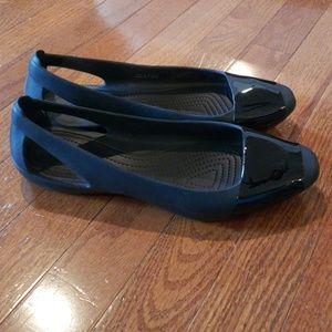 Crocs Black Dressy Slip Ons Size w9